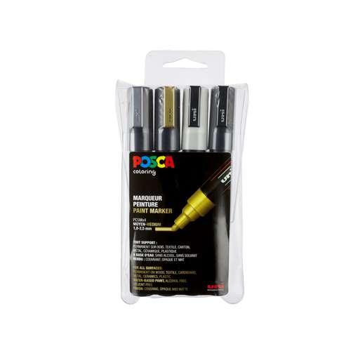 UNI POSCA Marker-Set PC-5M , 4er-Set
