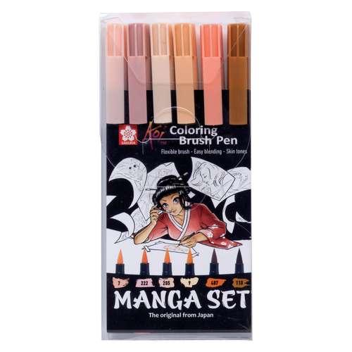 SAKURA® Koi Coloring Brush Pen MANGA-Set