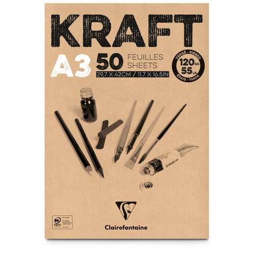 CLAIREFONTAINE Kraftpapier-Block, 120 g/qm