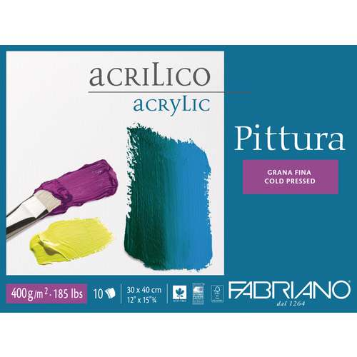 """Carton à dessin pour acrylique """"Pittura"""" de FABRIANO"""