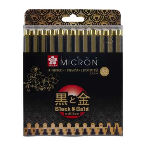 SAKURA PIGMA MICRON™ Fineliner-Sets, Black & Gold Edition